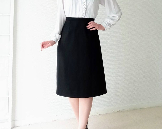 MarcelLE GRIFFON 90s// 1990's retro style straight skirt Marcelle Griffon Black skirt