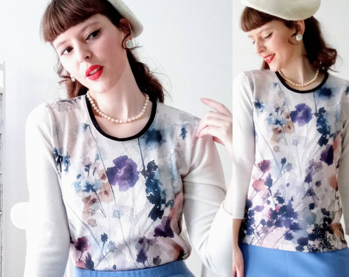 Marcelle Griffon's 1990s watercolor floral sweater 1990's style 50s // 1990's watercolor floral print jumper