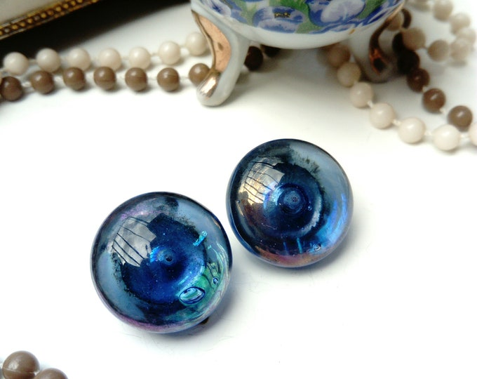 Navy translucent earrings 80s/80s translucent blue Navy earrings
