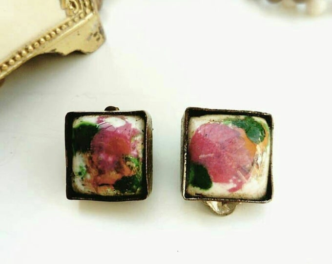 70s/70's psychedelic paint earrings