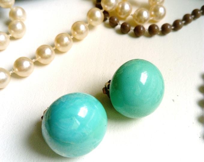 Turquoise round earrings 1950 's/1950 's blue Aqua circle earrings
