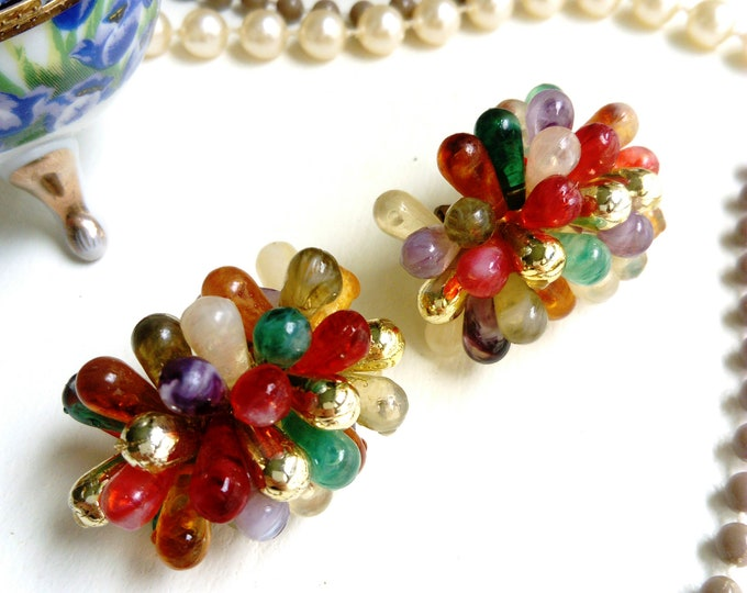 Earrings beads colorful 50-60's / 50's / 60's multicolored pearls earrings