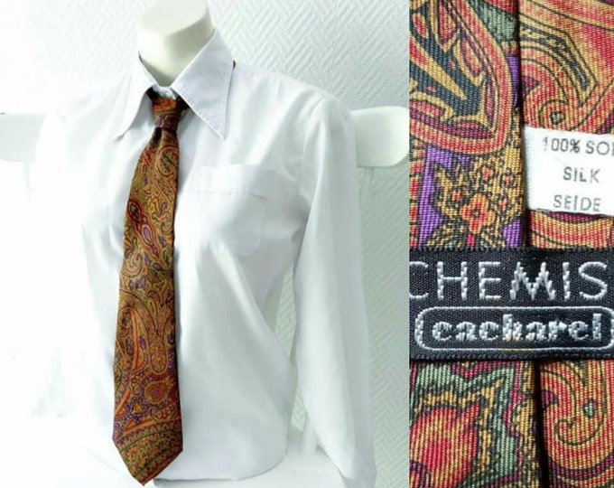 Cravate vintage 1980's CACHAREL paisley soie // Vintage 1980's Cacharel silk paisley tie