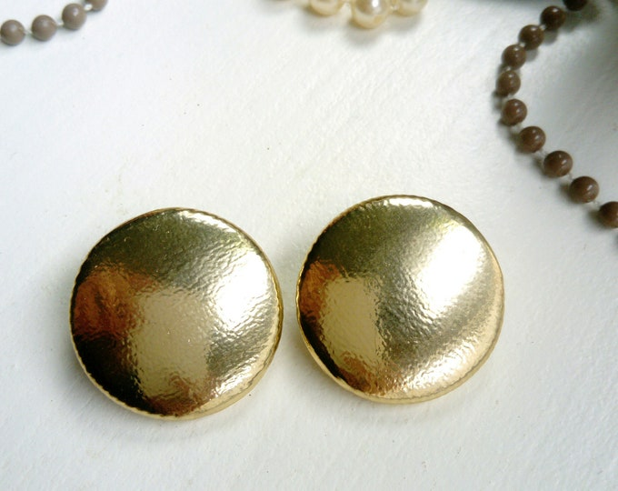 Golden round earrings 80s/80s Gold Oval earrings