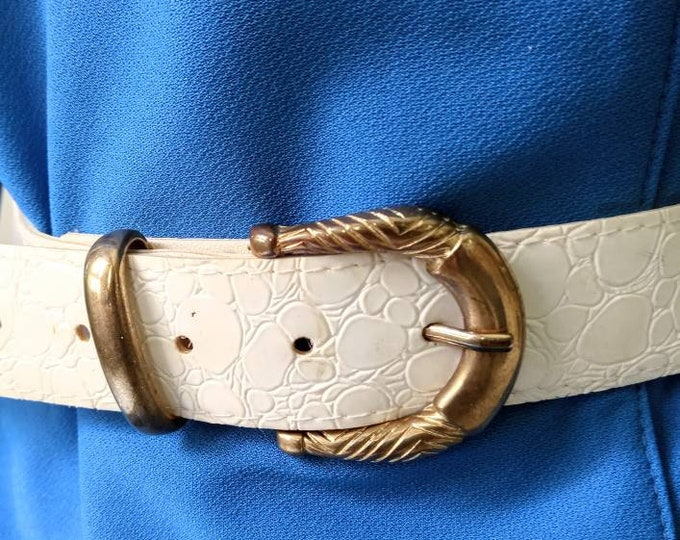 Imitation belt white croc 80s //1980's imitating croc belt