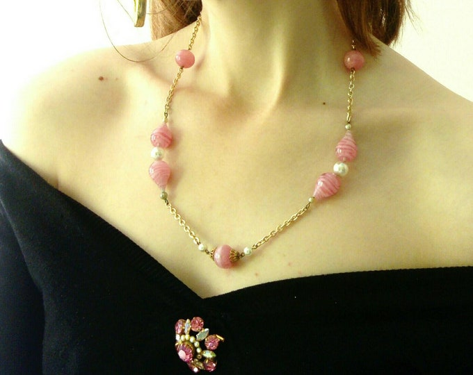 Necklace rose gold plated stones 1950's / 50's golden pink stones necklace
