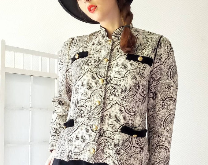 Veste imprimé florale abstrait vintage années 80 //1980's printed floral abstract jacket