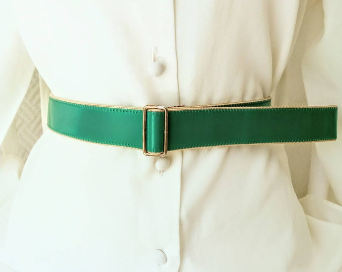80s green sliding varnish belt //1980's vanished Green belt