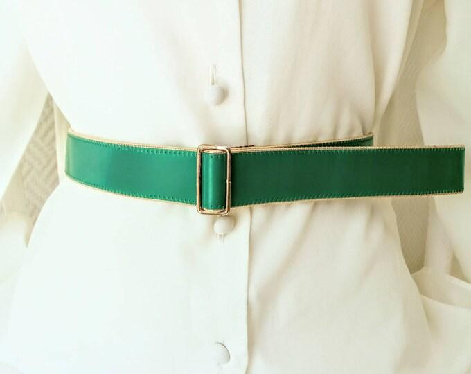 80s green sliding varnish belt //1980's vanished Green belt