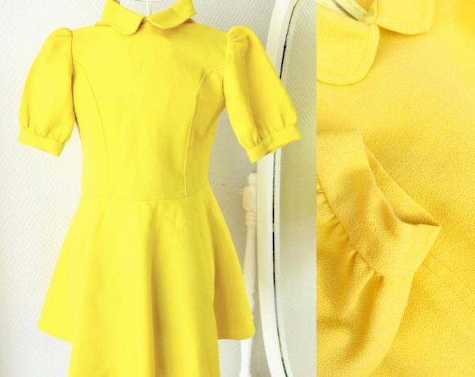 Yellow dress 1960's claudine collar for girl 10 years //1960's yellow Claudine collar dress for 10 years girl