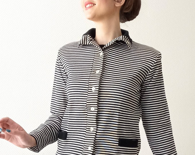 1960's deadstock stripe jacket// 1960's deadstock stripes cardigan