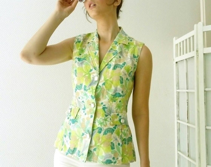 Floral psychedelic blouse 70s /70's psychedelic floral shirt
