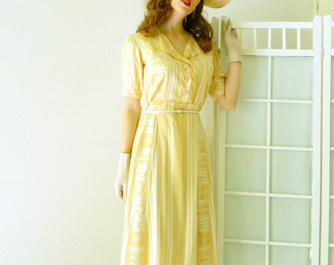 Robe à rayures jaune d'or années 1950 / 1950's stripe yellow golden dress