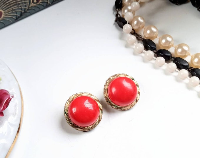 Earrings clips 1970's round golden red //1970's circle red golden clips earrings
