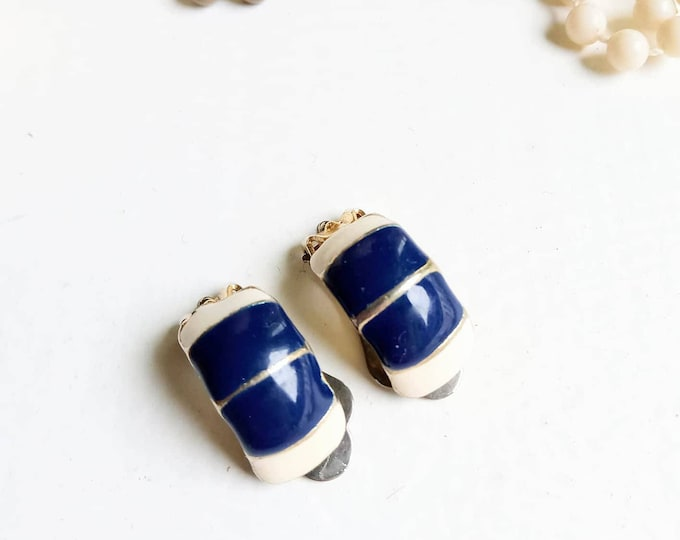 80s silver clip earrings 80s //1980's blue silvered earrings
