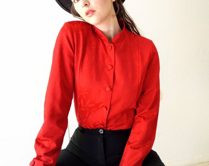 Red satin blouse collar mao 80s style 60s ///1980's does 60s red mandarin collar shirt
