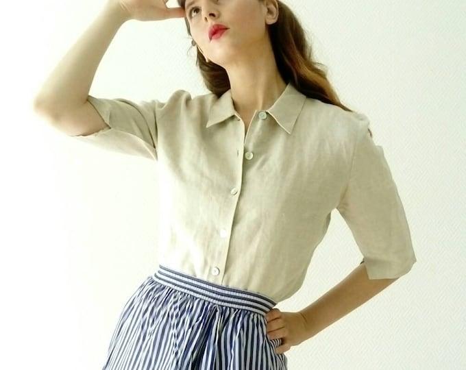 Jacqueline Riu 90s /90's linen Jacqueline Riu set of blouse and top