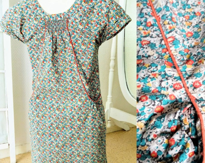 1980's floral meadow dress for girl 9/10 years //1980's prairie floral dress for 9/10 years girl