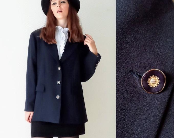 Preppy blazer jacket vintage navy 80s ///1980's vintage preppy blue navy blazer jacket