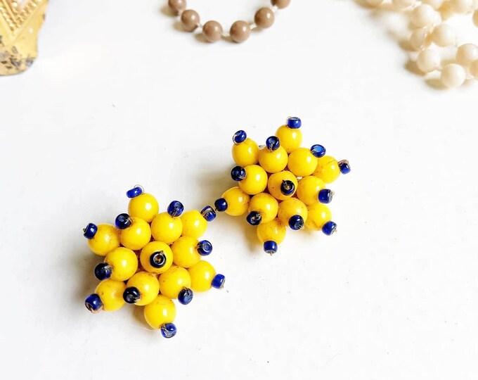 Earrings flower yellow pearls 70s //1970's yellow pearls flower earrings
