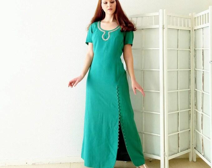 Vintage dress 1960's long split green //Vintage 1960's lond evening Green dress