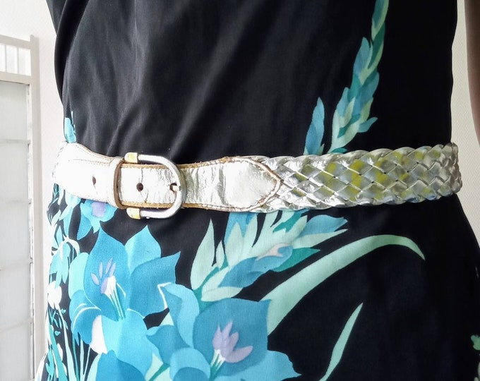 80s silver braided belt //1980's silvered braided belt