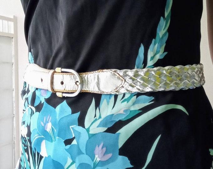 80s silver braided belt //1980's silvered braided belt