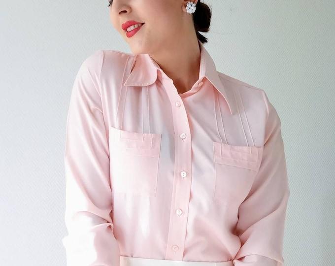 Chemisier rose pâle années 70 //1970's pink shirt