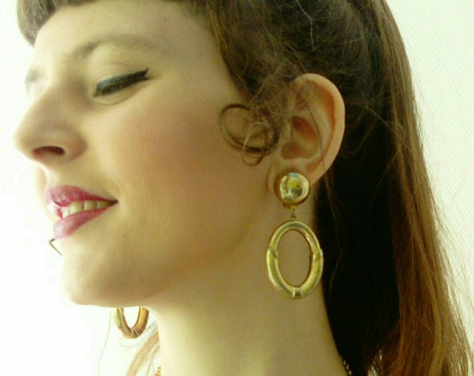 Golden dangling earrings 80/80 ′s pendant