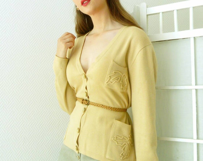 Beige jacket embroidered vintage leaves /Vintage leaves embroidered cardigan