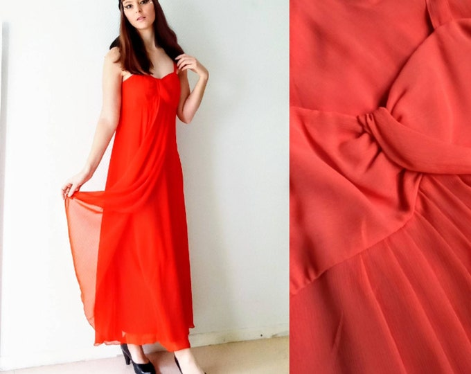 Coral long evening dress 1990's style 70s // 1990's does 70's coral evening maxi dress
