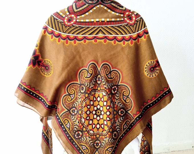 Large vintage shawl 1990's Russian inspired Caucasian square // Vintage 1990's russian caucasian inspiration big square schawl