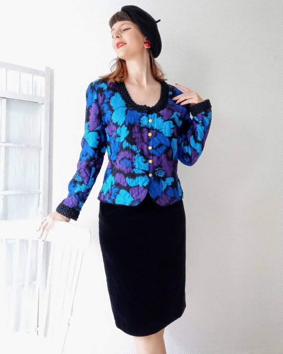 80s floral quilted silk jacket 80s //80's vintage