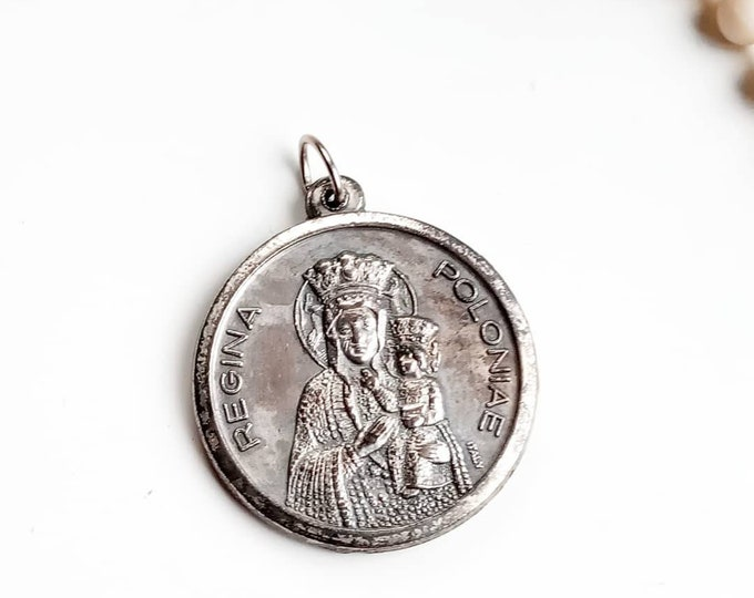 Vintage Religious Medal 1970's Our Lady of Czestochowa and Pope John Paul II