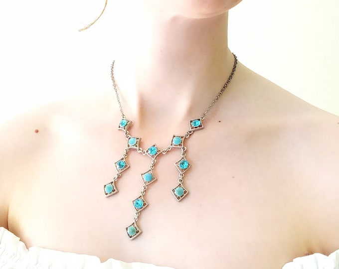 Necklace retro diamond watermark pendants blue rhinestone 90's/2000's // 90's/2000's retro filigram diamonds pendant blue rhinestone necklace