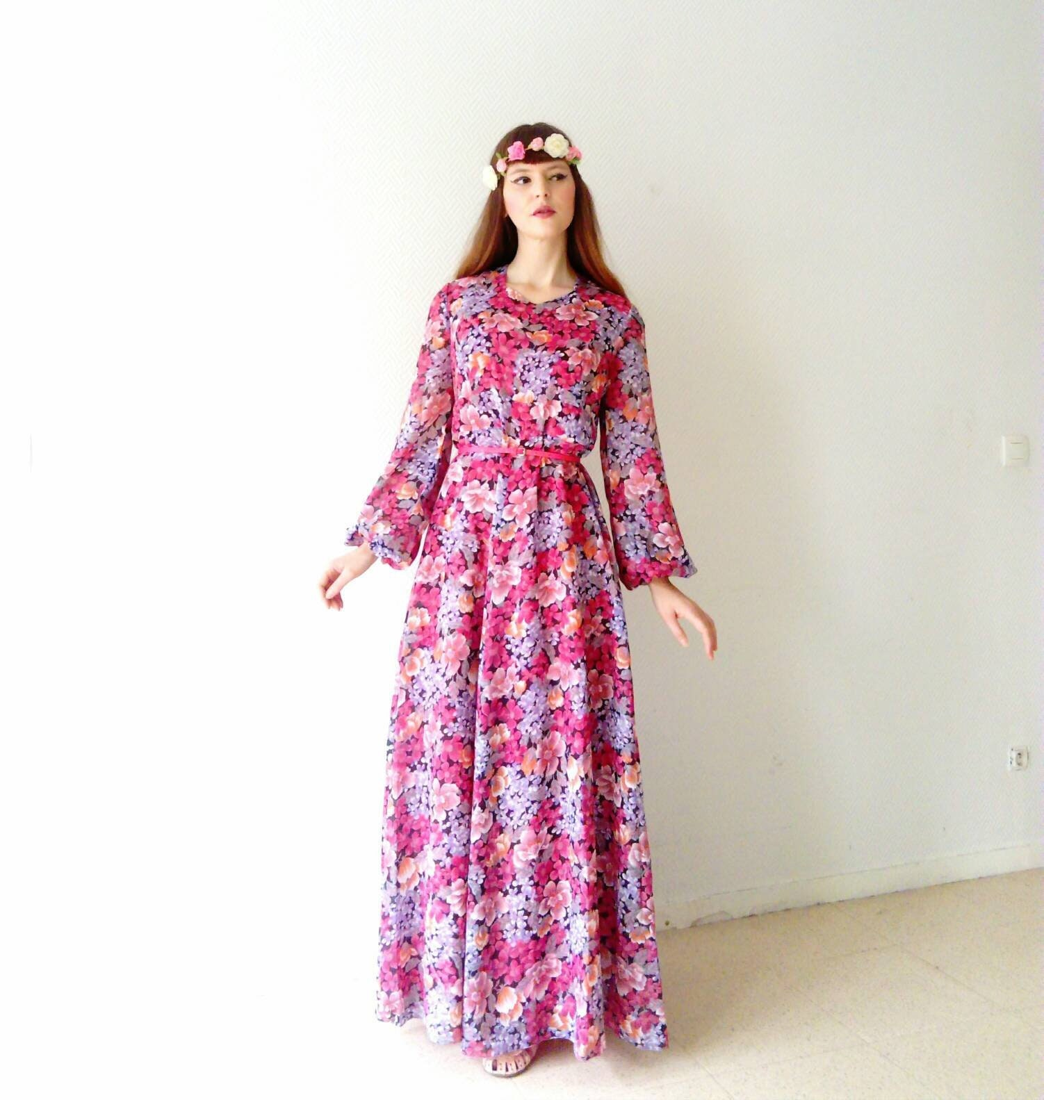 los años Vestido Rlj354a Vestido largo largo floral 70 de 13TKJcFul