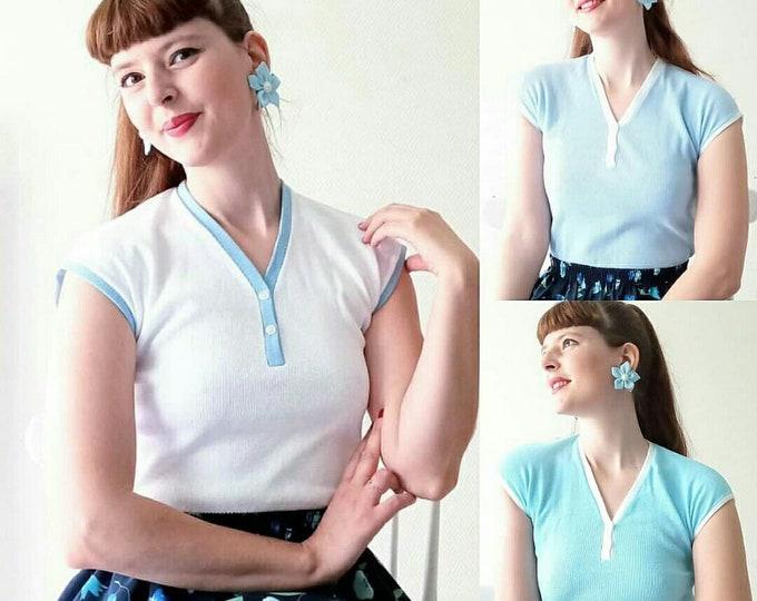 Vintage 1960's deadstock blue tshirt