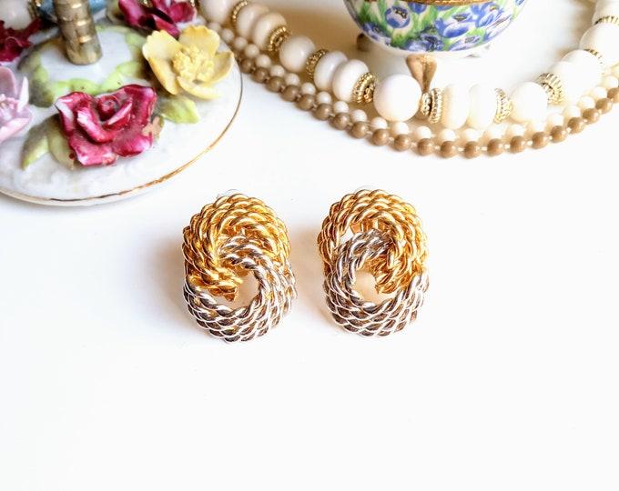 Earrings 1980's clips interlaced channels// Vintage 1980's Interwoven Chain Clips Earrings