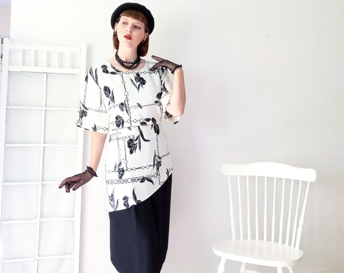 Vintage dress 1990's style 30s floral pattern black and white// Vintage 1990's does 30's black and white floral dress
