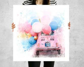 Fiat 500, fiat 500 print, fiat 500 poster, fiat car, baloons, pink, wedding gift ornament, old car, vintage car, large canvas wrap, gift art
