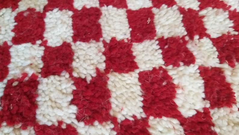 Morocco checker rug large Morrocan checkerboard rug! Moroccan  Handmade Moroccan Fantastic rug  Red /& white Checkered