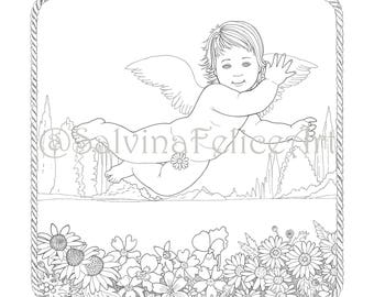 """Download digital print from my original drawing to the """"Good Day Angel"""", coloring, downloadable, coloring page"""