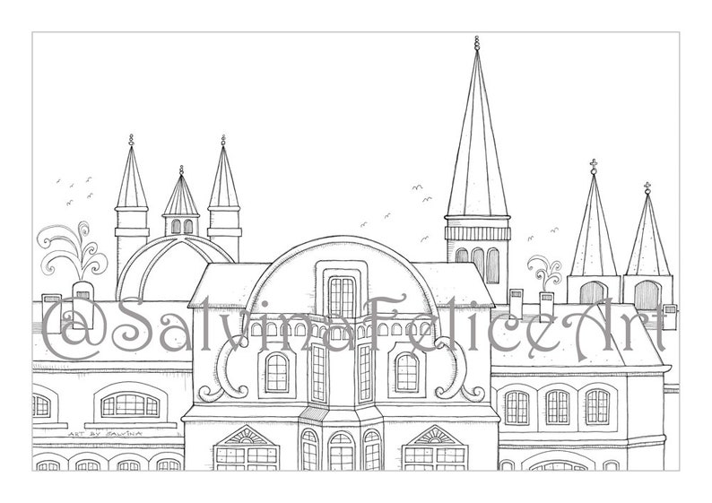 Frankfurt City Coloring Pages Download Digital Print From My Etsyrhetsy: My City Coloring Pages At Baymontmadison.com