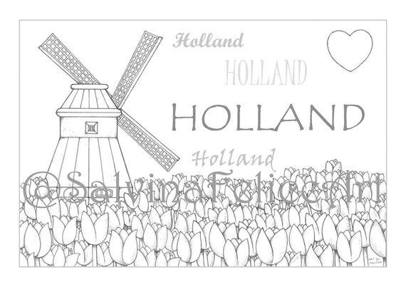 Holland City Coloring Pages Download Digital Print From My Etsyrhetsy: My City Coloring Pages At Baymontmadison.com