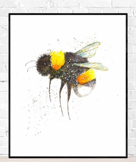 Lovely Bee PostcardCard Hand-painted with watercolors