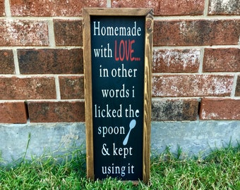 Homemade With Love Kitchen Sign. FREE SHIPPING