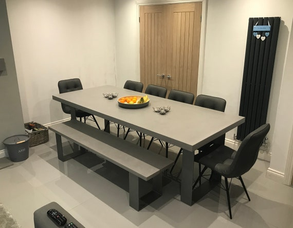 Concrete Dining Table and Bench / Cool Grey / 8mm Steel legs - Clear Coat -  Delivered & Installed