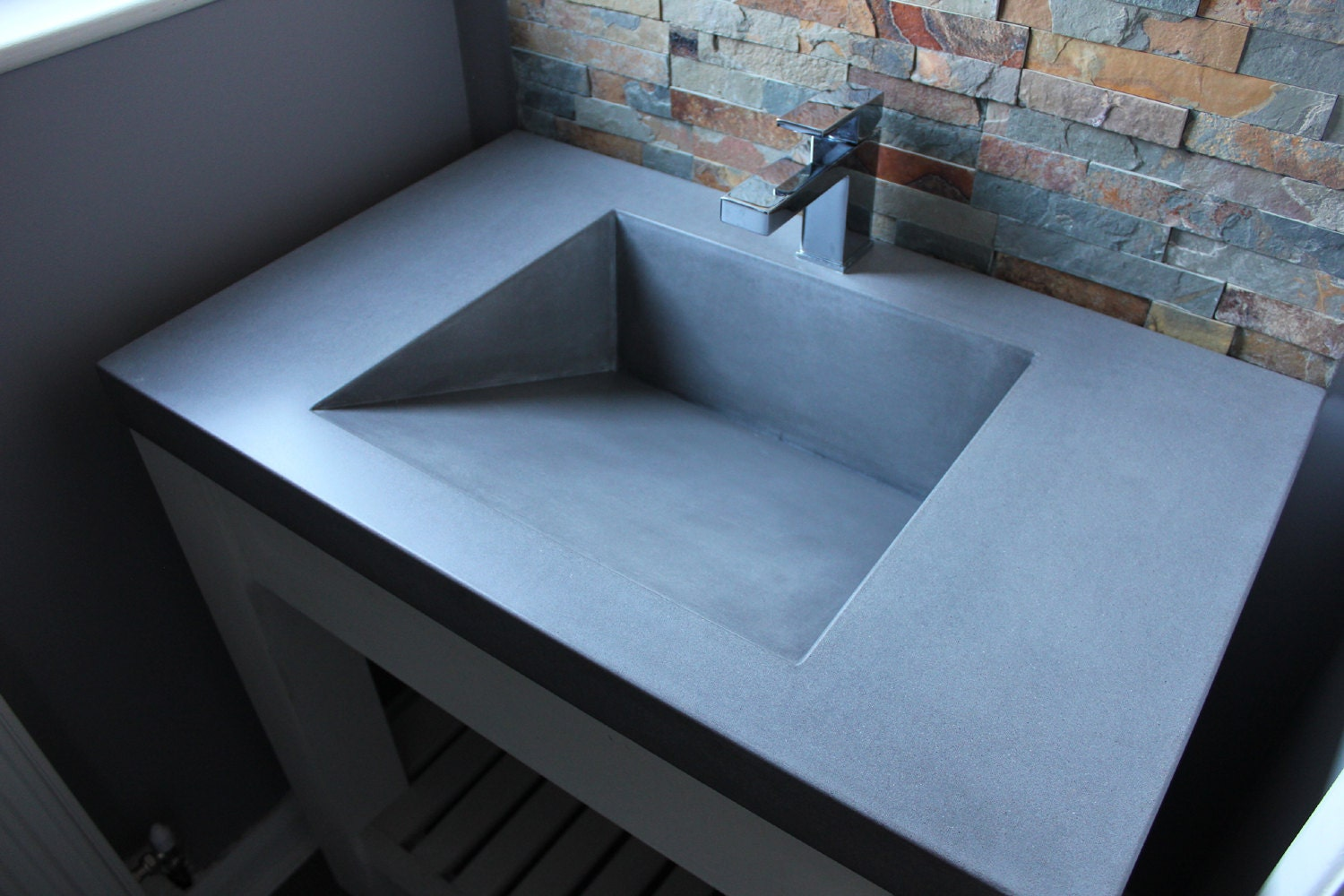 Concrete Industrial Square Ramp Sink / Basin in Cool Grey / | Etsy