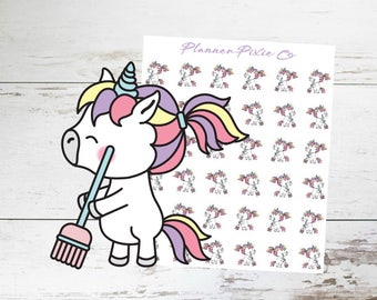 Unicorn Planner Stickers // Cleaning Day // Housework // Chores // 022