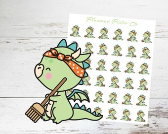 Dragon Planner Stickers // Cleaning Day // Spring Clean // Housework // 018